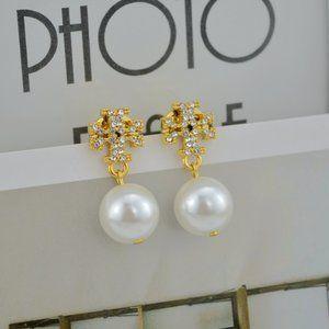 Tory Burch Simple Zircon Logo Pearl Earrings